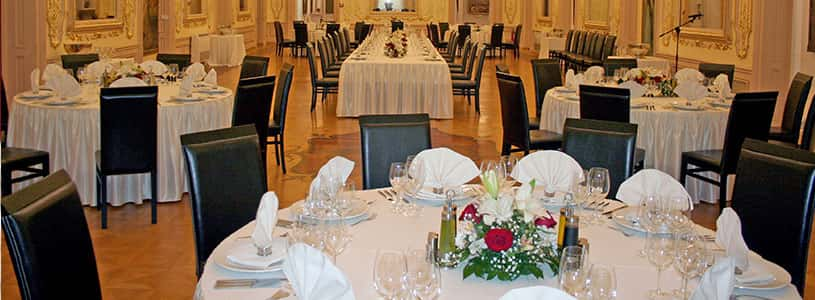 banquet tables in the hall